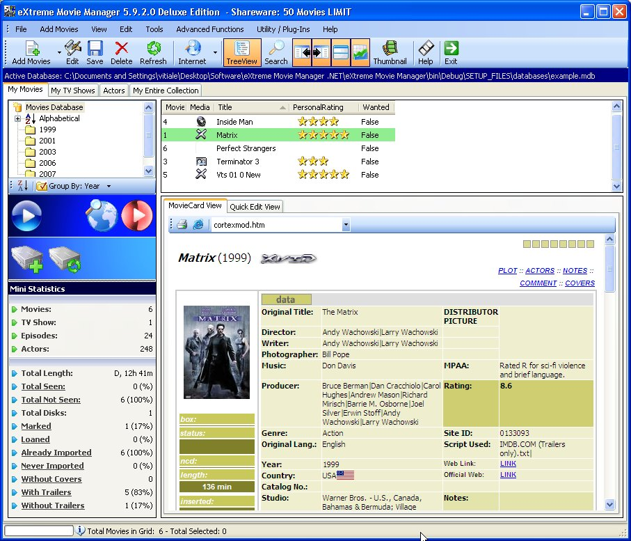 eXtreme Movie Manager 8.5.7.0 screenshot